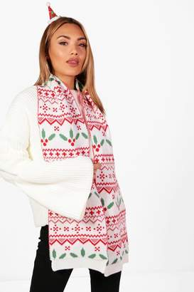 boohoo Christmas Ivy Holly And Fairisle Knitted Scarf