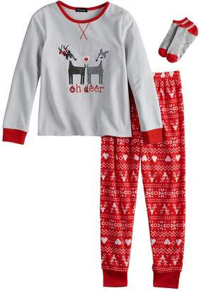 "Cuddl Duds Girls 4-12 Oh Deer"" Top & Fleece Fairisle Bottoms Pajama Set with Socks"
