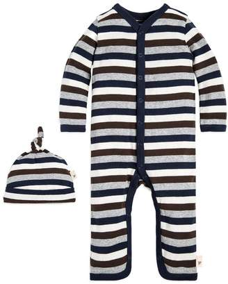 Burt's Bees Multi Stripe Organic Baby Cotton One Piece Jumpsuit & Hat Set