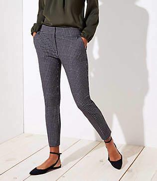 LOFT Skinny Button Plaid Pants in Julie Fit