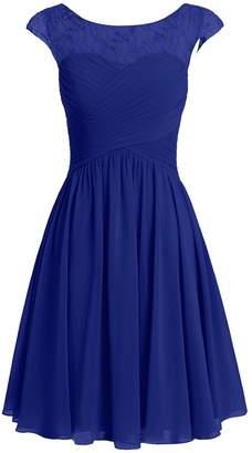 Cdress Women's Short Bridesmaid Dresses Chiffon Appliques Prom Dress Party Formal Gowns US