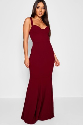 boohoo Bustier Detail Fishtail Maxi Dress