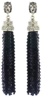Oscar de la Renta Swarovski Crystal & Beaded Long Tassel Earrings