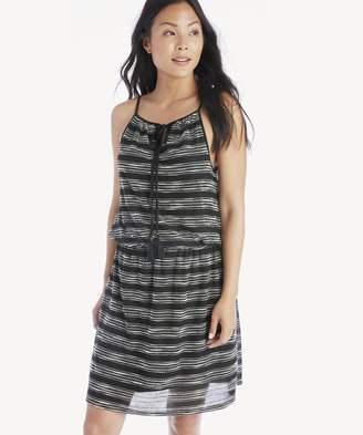 Sole Society Zig Zag Stripe Cinch Waist Halter Dress