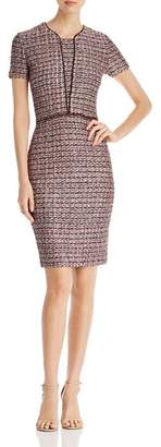 St. John Textured Contrast-Trim Check Pattern Dress