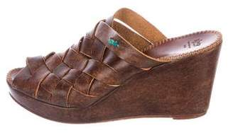 Henry Cuir Woven Leather Wedges