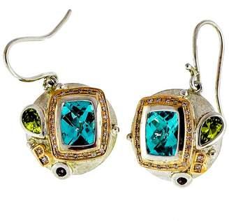 Bellarri 18K Rose Gold and Sterling Silver Blue Topaz, Diamond Peridot and Garnet Dangle Earrings