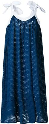 Natasha Zinko leather-trim eyelet dress