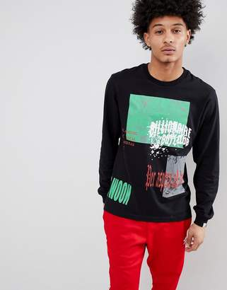 Billionaire Boys Club Collage Print Long Sleeve T-Shirt In Black