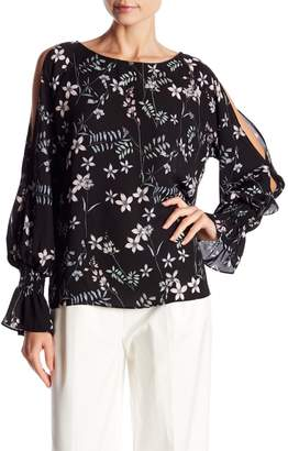 Vince Camuto Flare Cuff Cold Shoulder Floral Top (Regular & Petite)