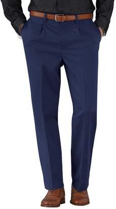 Charles Tyrwhitt Marine Blue Classic Fit Single Pleat Non-Iron Cotton Chino Pants Size W34 L32