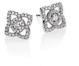 De Beers Women's Enchanted Lotus Diamond& 18K White Gold Stud Earrings