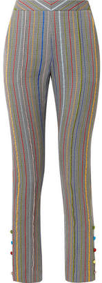 Rosie Assoulin Oboe Wool And Silk-blend Jacquard Slim-leg Pants - Gray