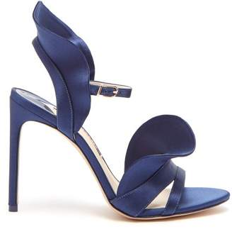 Sophia Webster Lucia Ruffle Embellished Satin Sandals - Womens - Mid Blue