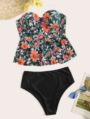 5132782465 Shein Random Floral Peplum Top With High Waist Tankini Set