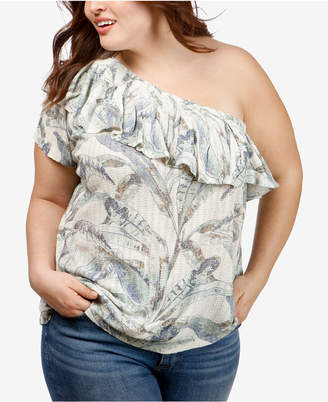 Lucky Brand Trendy Plus Size Ruffled One-Shoulder Top