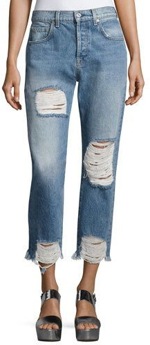 7 For All Mankind 7 For All Mankind Josefina High-Waist Destroyed Jeans, Blue
