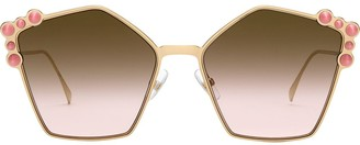 Fendi Eyewear studded pentagonal sunglasses