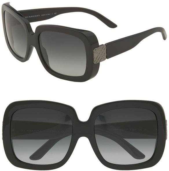 Burberry Check Detail Oversized Square Sunglasses