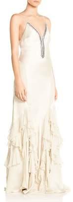 Haute Hippie Melchizedek Ruffled Bead-Embellished Gown