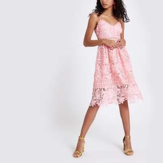 River Island Womens Pink lace cami midi dress
