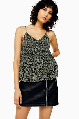 Topshop Womens Animal Print Pleat Camisole Top - Khaki