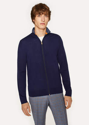 Paul Smith Men's Dark Indigo Funnel Neck Merino Wool Zip Cardigan