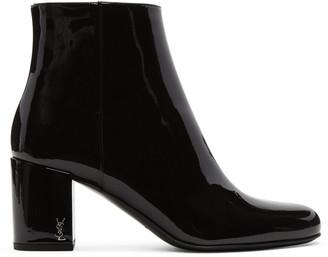 Saint Laurent Black Patent Leather Babies Boots $895 thestylecure.com