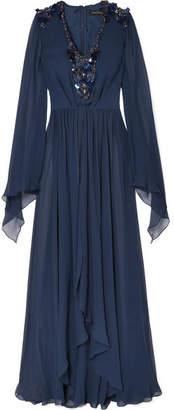 Jenny Packham Embellished Silk-chiffon Gown - Midnight blue