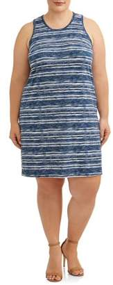 Cherokee Women's Plus Size Printed Sleeveless Knit Swing Dress with Keyhole Back