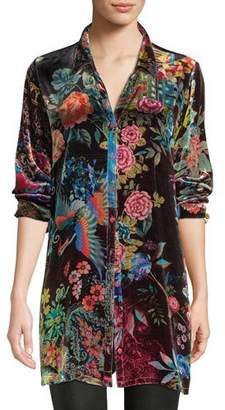 Johnny Was Dream Floral-Print Velvet Easy Tunic, Petite