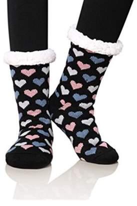 Generic Women's Winter Fleece Knit Non Slip Warm Fuzzy Cozy Slipper Socks