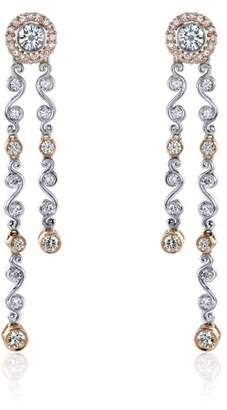 Jack Kelege Platinum & 18K Rose Gold Diamond Dangle Earrings