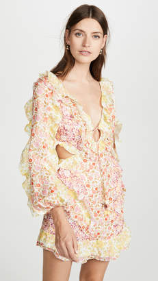 Zimmermann Goldie Spliced Short Dress