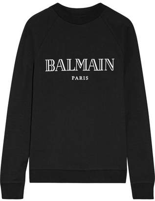 Balmain - Printed Cotton-jersey Sweatshirt - Black $530 thestylecure.com