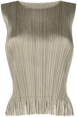 Pleats Please Issey Miyake sleeveless fringe embellished blouse