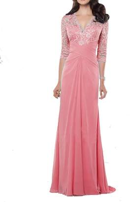ThaliaDress Women Long Chiffon Lace V Neck Mother of Bride Dress T233LF US