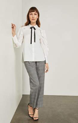 BCBGMAXAZRIA Ruffle Sleeve Cotton Shirt