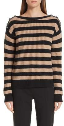 Max Mara Salpa Stripe Wool & Cashmere Pullover