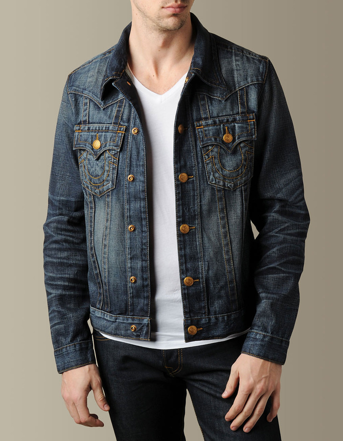 True Religion Mens Jimmy Western Denim Jacket - (Cottonwood)