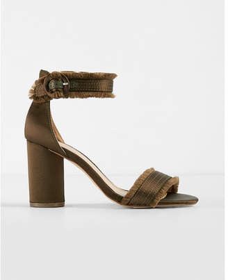 Express Satin Fringe Heeled Sandals $59.90 thestylecure.com