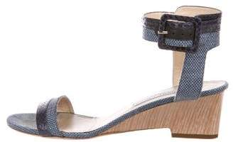 Jimmy Choo Mansy Snakeskin-Trimmed Sandals