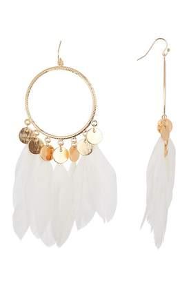 Leslie Danzis Coin Feather Hoop Earrings