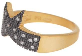 Freida Rothman 14K Gold & Black Rhodium Plated Sterling Silver Indigo Armour Pointed CZ Ring - Size 7