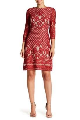 Gabby Skye 3\u002F4 Sleeve Lace Sheath Dress