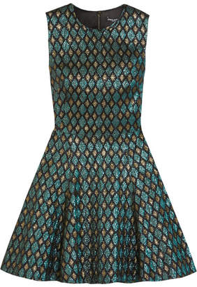 Dolce & Gabbana - Flared Metallic Jacquard Mini Dress - Forest green $1,795 thestylecure.com