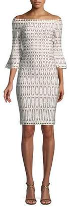 Herve Leger Off-the-Shoulder Bell-Sleeve Tiled-Jacquard Body-con Cocktail Dress