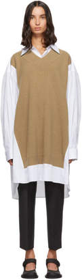 Maison Margiela White and Beige Knit Shirt Dress