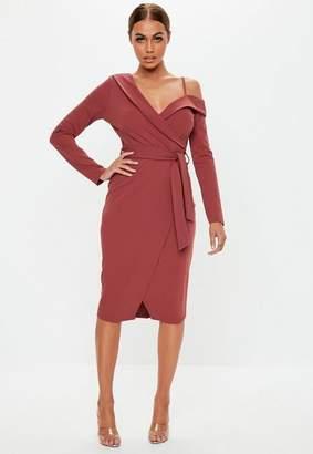 Missguided Brown Tie Waist Tailored Midi Dress