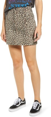 MADE IN BLUE Denim Leopard Print Denim Miniskirt